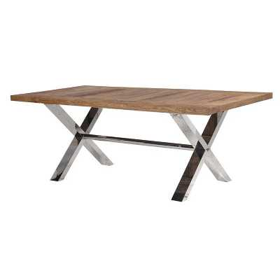 Modern Elm Top 6 Seater Dining Table with Steel X Frame