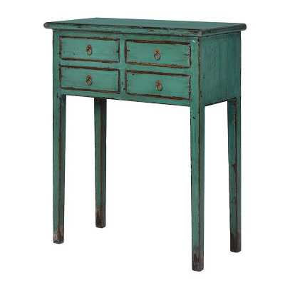 4 Drawer Green Painted Telephone Table
