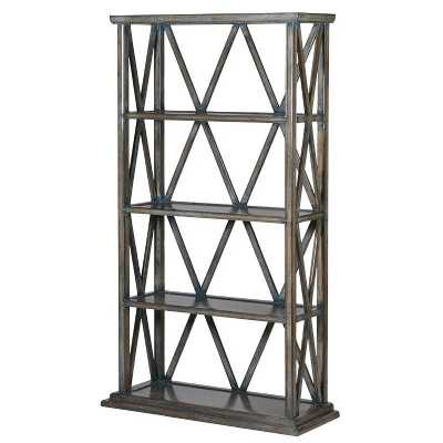 Modern Aged Diamond Framed Open Bookshelf with 3 Shelves