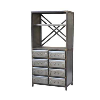 Industrial Mild Steel Style Guru Bookcase with Trunk Drawers