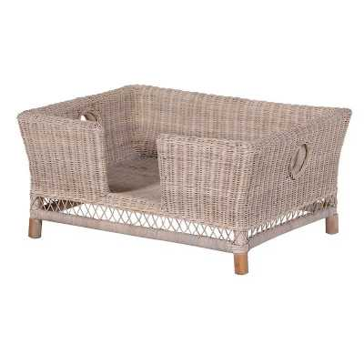 Large White Wash Wicker Woven Rattan House Dog Bed Without Cushion