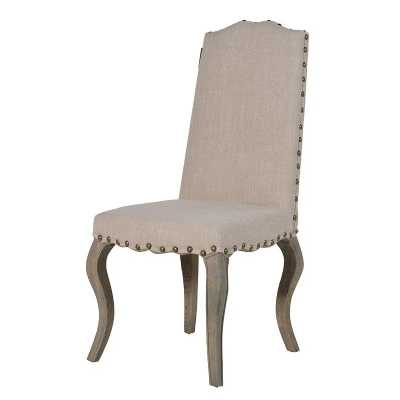 Set of 8 Traditional Cream Linen Fabric Wooden Curved Leg Dining Chair