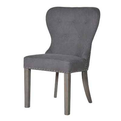 Set of 8 Modern Button Back Grey Upholstered Studded Dining Chairs