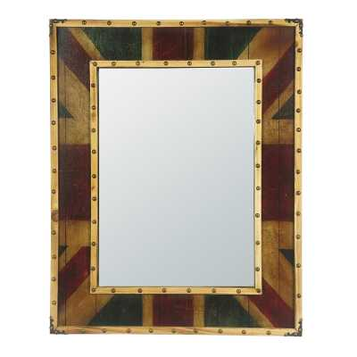 Thick Framed Vintage Style Union Jack Wall Mirror with Studs