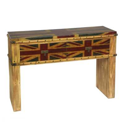 London Calling Vintage Union Jack 2 Drawer Console Desk Dressing Table