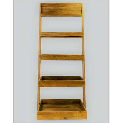 Solid Antique Reclaimed Pine Wood Traditional Ladder Shelf Bookcase Unit