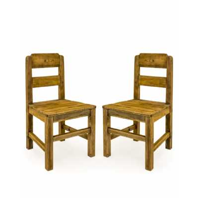 Pair Of Reclaimed Pine Refectory Ladder Back Rustic Dining Chairs