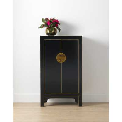 Chinese Black Painted Gold Gilt Storage Cabinet 2 Cupboard Doors with Shelves