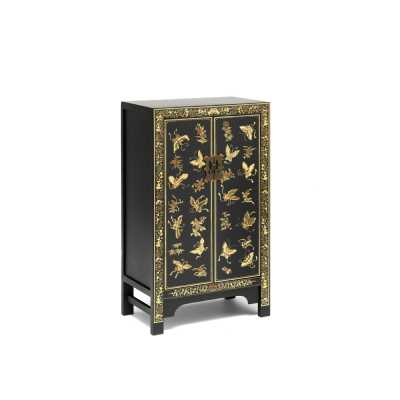 Chinese Black and Gold Painted Decorated Storage Cabinet Oriental Style