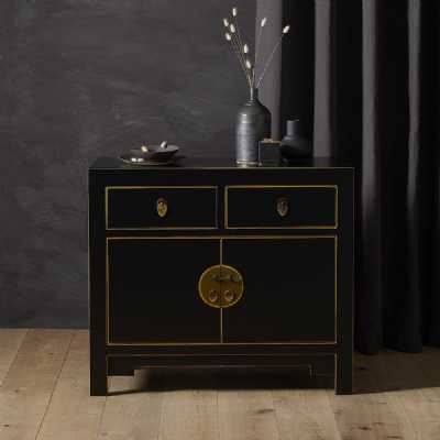 Chinese Painted Black and Gilt Small Sideboard
