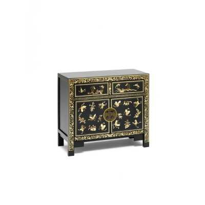 Chinese Oriental Gold Art Painted Black Sideboard 2 Doors and Drawers