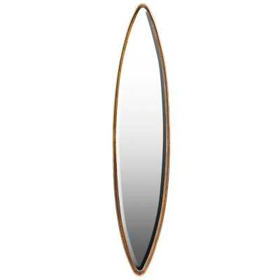 Contemporary Modern Tall Slim Narrow Oval Eclipse Wall Dressing Mirror