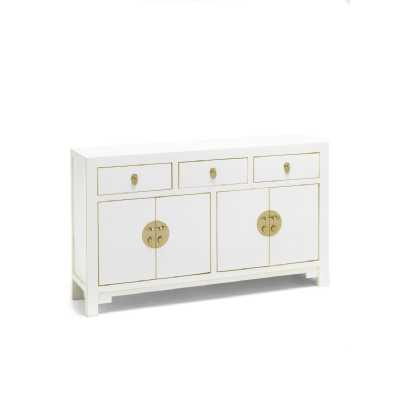 The Nine Schools Qing White Painted Finish Poplar and Plywood Large Chinese Small Sideboard 80x140x35cm