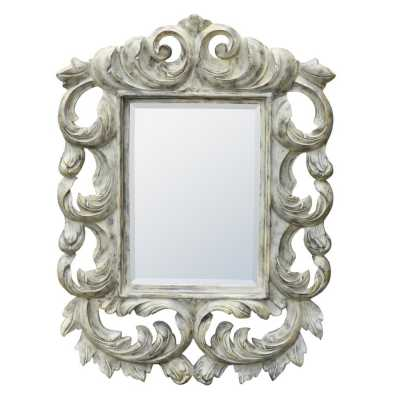 Baroque Flourish Carved Distressed Grey Painted Bevelled Wall Mirror