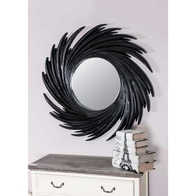Black Swirl Round Wall Mirror With Black Resin Frame 94cm Diameter