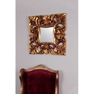 80cm Square Small Ornate Carved Naples Wall Mirror with Gold Frame