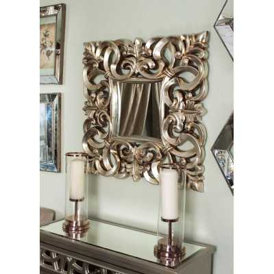 Square Small Naples Wall Mirror with Silver Resin Frame