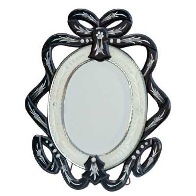 Venetian Ribbon Table Mirror Black