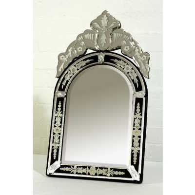 Venetian Table Mirror Arched Black