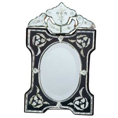 Venetian Table Mirror Scalloped And Archred Black