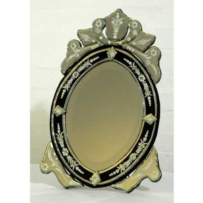 Venetian Table Mirror Oval Black
