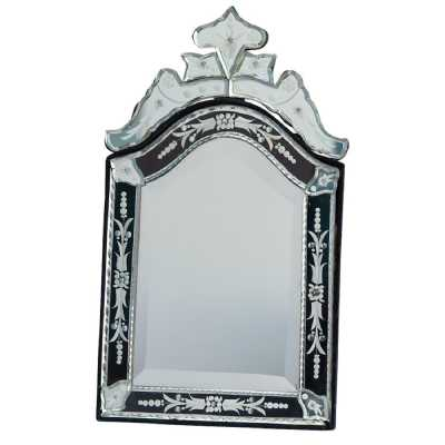 Venetian Table Mirror, Arched Black