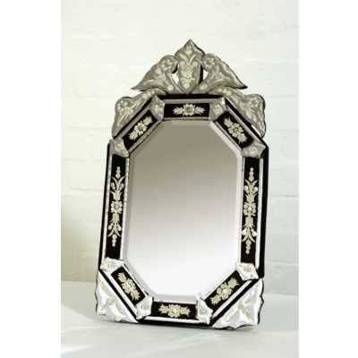 Venetian Table Mirror Hexagonal Black