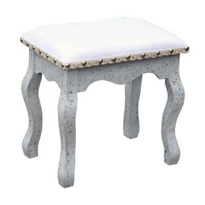 Chaandhi Kar White Silver Embossed Dressing Table Stool