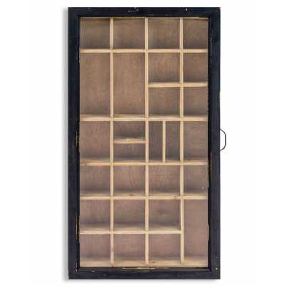 Large Black Antiqued Wooden Wall Display Cabinet Glass Fronted with Multiple Compartments