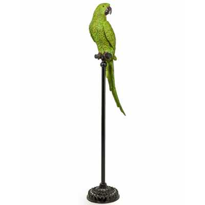 Large Resin Green Parrot On Floor Standing Black Metal Perch 116cm Tall
