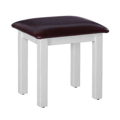 Rosa Light Grey Painted Dressing Table Stool with Bicast Leather Top