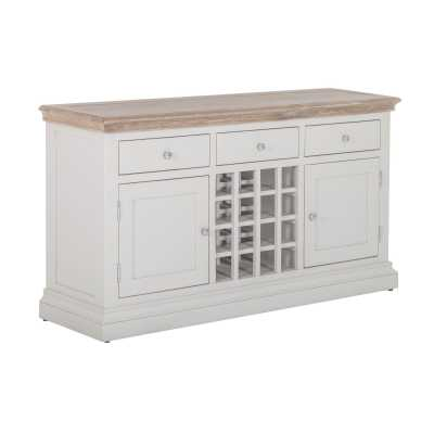 Rosa Chalked Oak Top and Light Grey Painted 3 Drawer 2 Door Wine Table