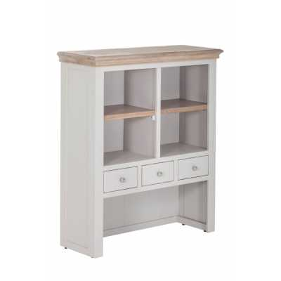 Rosa Chalked Oak Top and Light Grey Painted 3 Drawer 2 Shelf Hutch