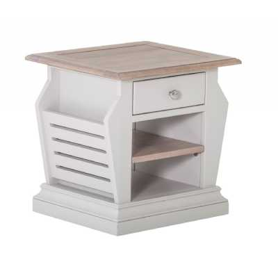 Rosa Chalked Oak Top and Light Grey Painted 1 Drawer Magazine Rack