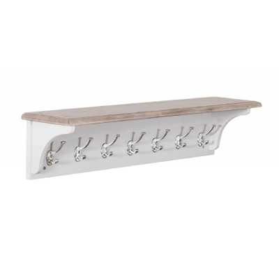 Rosa Chalked Oak Top and Light Grey Painted 7 Chrome Hook Coat Rack