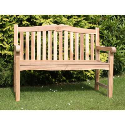 Tudor Rose Garden Bench Solid Teak Slatted Garden Seating