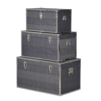 Set Of 3 Modern Grey Pu Trunks with Metal Clasps and Detailing