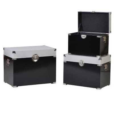 Set Of Three Glossy Black and White Contrasting Storage Trunk Boxes