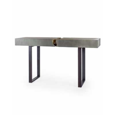 Funky Ripped Exposed Concrete Core Console Table On Iron Legs