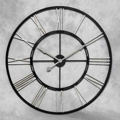 Large Skeleton Black And Silver Painted Iron Wall Clock Ex Display