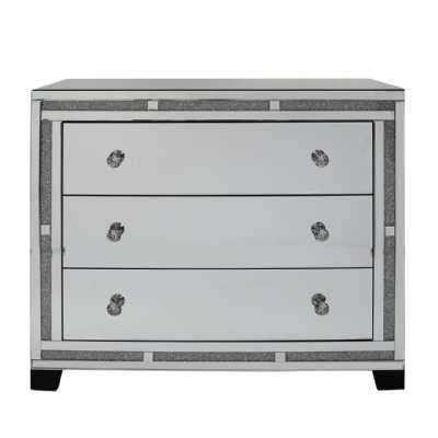 Crystal Diamond Mirrored Glass 3 Drawer Chest of Drawer Ex Display