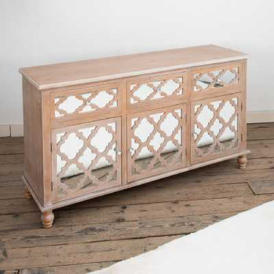 Wood Lattice Fretted Mirrored Wide Sideboard 3 Doors And 3 Drawers