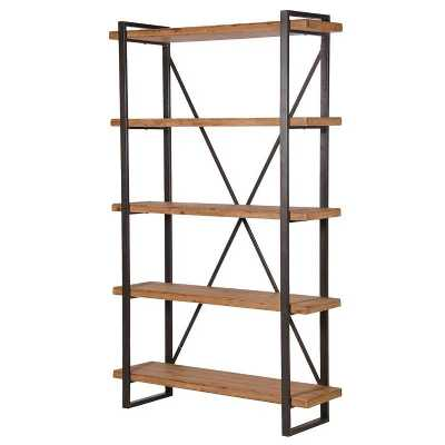 Industrial Style 4 Tier Wooden Shelf Unit with Metal Frame