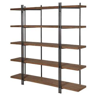 Large Industrial 5 Wooden Shelf Bookcase Storage Unit with Metal Frame