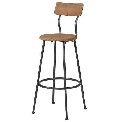 Industrial Styled Black Metal Bar with Wooden Seat Bar Chair
