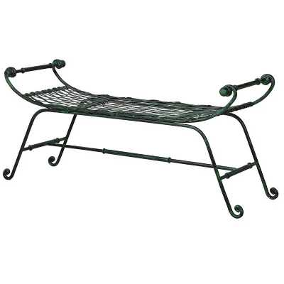Traditional Style Curved Black Iron 3 Seater Garden Bench
