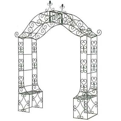 Traditional Wrought Iron Climbing Rose Arch Gate With Duel Bench
