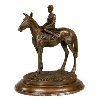 Bronze Horse And Jockey Statue on Stand