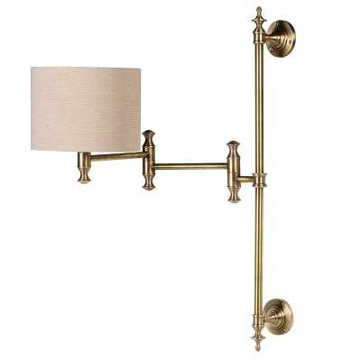 Traditional Brass Wall Lamp With Neutral Shade