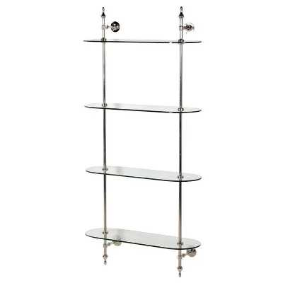 Stainless Steel Wall Mounted Shelving Unit with Elegant Glass Shelves
